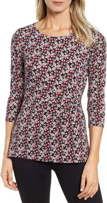 Chaus Knot Front Ditsy Top