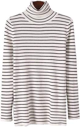 Goodnight Macaroon 'Jackyln' Thin-striped Turtleneck Sweater (6 Colors)