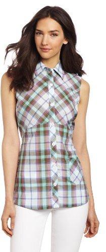 Dickies Women's Sleeveless Plaid Shirt