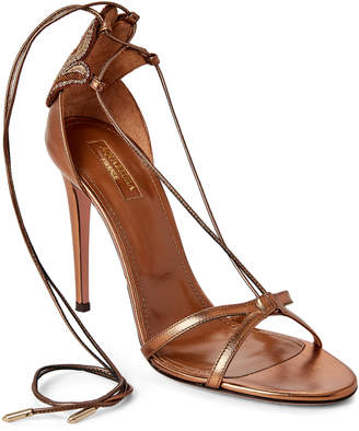 Aquazzura Bronze Mandala Metallic Leather Lace-Up Sandals