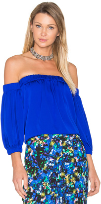 MILLY Silk Off Shoulder Blouse $320 thestylecure.com
