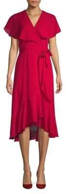 Gabby Skye Ruffled Chiffon Wrap Dress