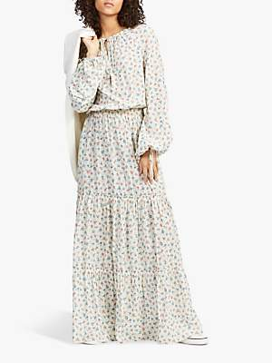 Ralph Lauren Polo Ditsy Floral Tiered Long Dress, Multi