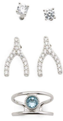 Set Of 2 Sterling Silver Cz Earrings And Cuff