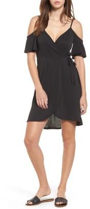 Women's Socialite Faux Wrap Cold Shoulder Dress $45 thestylecure.com