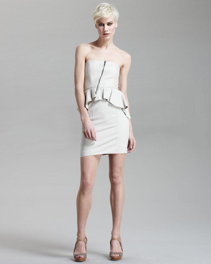 Alice + Olivia Charlotte Leather Peplum Dress