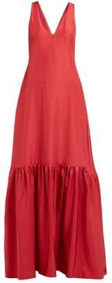 Three Graces London Renee Drop Waist Silk Maxi Dress - Womens - Red