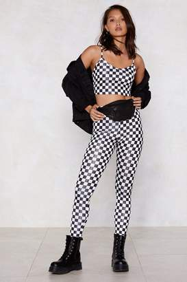 Nasty Gal Checkmate Checkerboard Crop Top and Leggings Set