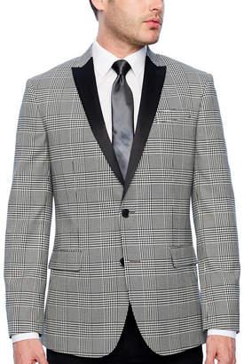 Jf J.Ferrar Tartan Stretch Black and White Slim Fit Sport Coat