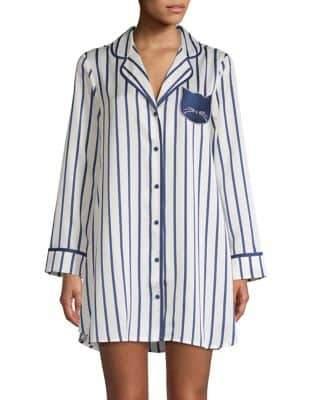 Kate Spade Striped Notch Collar Sleepshirt