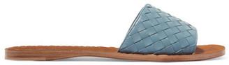 Bottega Veneta - Ravello Intrecciato Leather Slides - Light blue $620 thestylecure.com