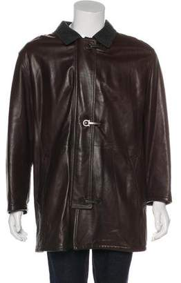 Salvatore Ferragamo Wool Collar Leather Coat