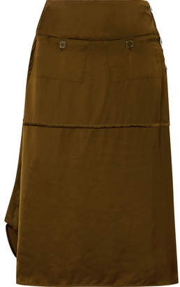 Carven Asymmetric Satin Midi Skirt - Army green