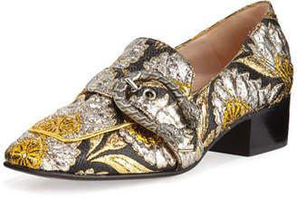 Gucci Dionysus Brocade 35mm Loafer, Brown/Oro/Nero