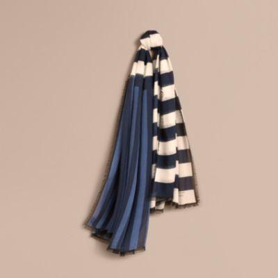Burberry Burberry Contrast Stripe Cashmere Silk Scarf