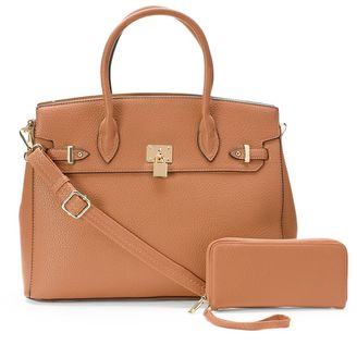 Deluxity 2-in-1 Elena Lock Satchel with Wallet $79 thestylecure.com