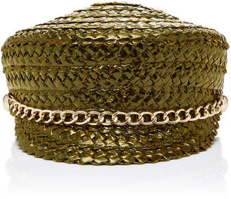 Eugenia Kim Sabrina Chain-Embellished Woven Straw Hat