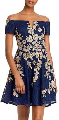 Aqua Off-the-Shoulder Lace-Embroidered Dress - 100% Exclusive