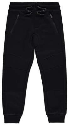 George Black Ribbed Panel Joggers