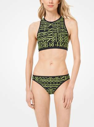 MICHAEL Michael Kors Newsprint Logo Racerback Bikini Top