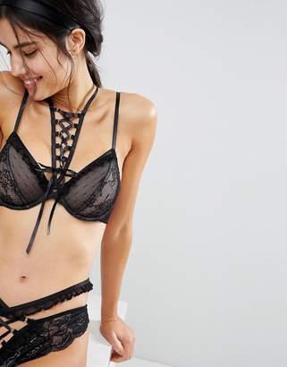 Asos DESIGN PREMIUM Danielle Lace Up Plunge Underwire Bra with Detachable Choker