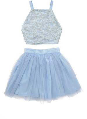 Stella M'Lia Two-Piece Beaded Tulle Dress