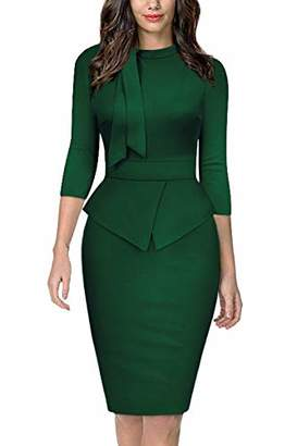 Moyabo Women Dress for Women Elegant Tie Collar 3/4 Sleeve Formal Office Work Pencil Dress