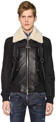 DSQUARED2 Leather Bomber Jacket W/ Shoulder Straps