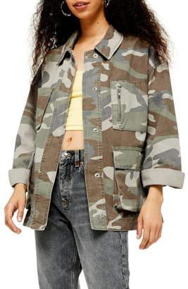 Topshop Camouflage Longline Shirt Jacket