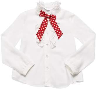 MonnaLisa Ruffled Viscose Twill Shirt With Bow