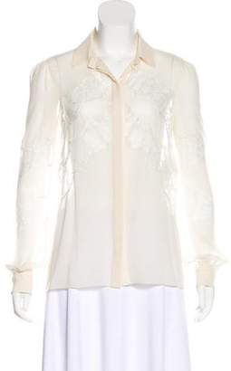 Valentino Silk Chiffon Long Sleeve Blouse