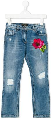 Dolce & Gabbana flower applique jeans