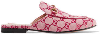 Gucci Princetown Horsebit-detailed Logo-woven Canvas Slippers - Red