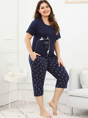 Shein Plus Cat Print Tee & Pants PJ Set
