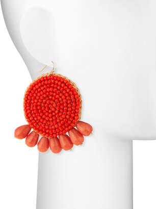 Panacea Round Beaded Coral Earrings