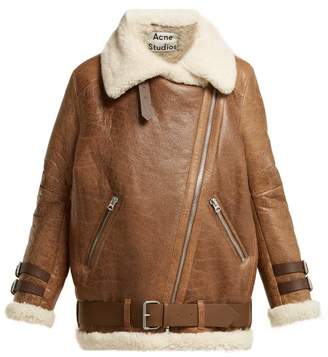 Acne Studios Velocite Shearling Jacket - Womens - Brown White