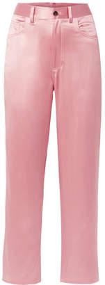 Fleur Du Mal Silk-satin Wide-leg Pants - Baby pink