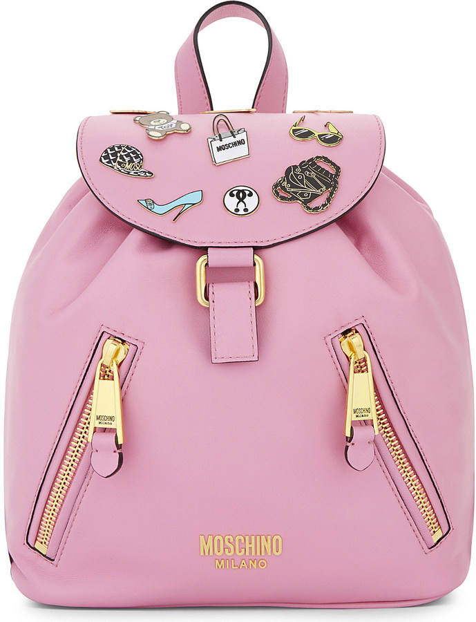 MoschinoMoschino Badges leather backpack
