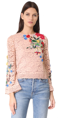 alice + olivia Pasha Embroidered Bell Sleeve Top $350 thestylecure.com