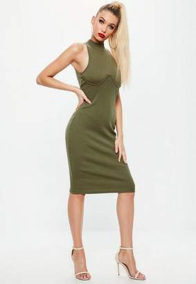 Missguided Khaki High Neck Bust Cup Bodycon Midi Dress