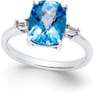 Macy's Swiss Blue Topaz (3-3/4 ct. t.w.) and Diamond Accent Ring in Sterling Silver