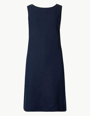 Marks and Spencer PETITE Linen Rich Round Neck Shift Dress