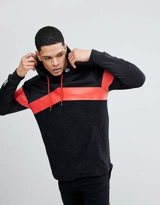 Soul Star Long Line Back Zip Stripe Hoodie
