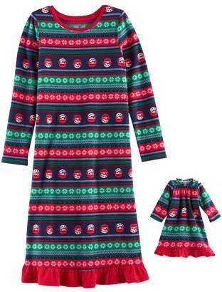 Girls 4-16 Jammies For Your Families Snowman Fairisle Microfleece Nightgown & Doll Gown Pajama Set
