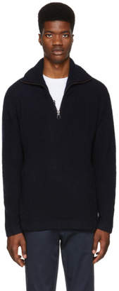 Burberry Navy Beckingham Half-Zip Sweater