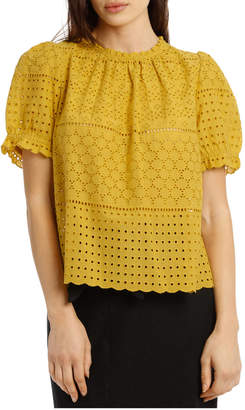 Top Broderie And frill neck