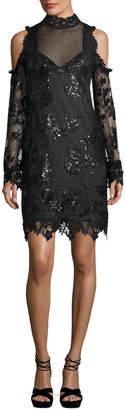 Nanette Lepore Corine Cold-Shoulder Sequin Lace Cocktail Dress