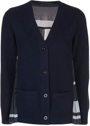 Sacai pleated-back knit cardigan
