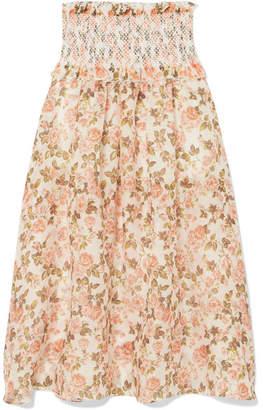 Zimmermann Radiate Smocked Floral-print Linen And Silk-blend Maxi Skirt - Peach