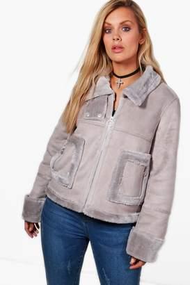 boohoo Plus Layla Faux Fur Bonded Aviator Jacket